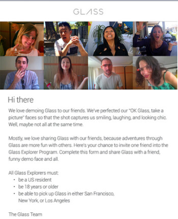 Google sent emails to some Glass owners members allowing them to invite a friend into the Explorer program