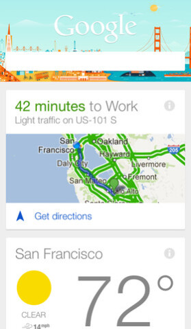 Screenshots from Google Now for iOS