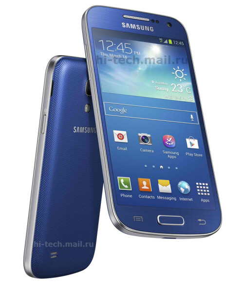 Samsung Galaxy S4 Mini in blue, brown, and red