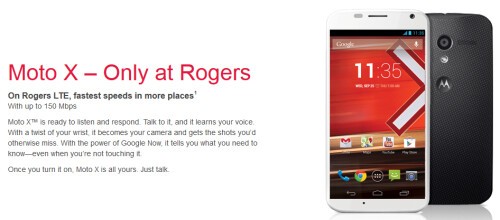 Rogers will have the Canadian exclusive on the Motorola Moto X