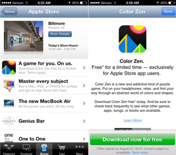 Download the Apple Store app and visit a real store to get free downloads