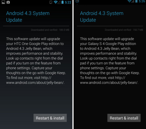 Android 4.3 update for the Google Play Edition Samsung Galaxy S4 and the HTC One