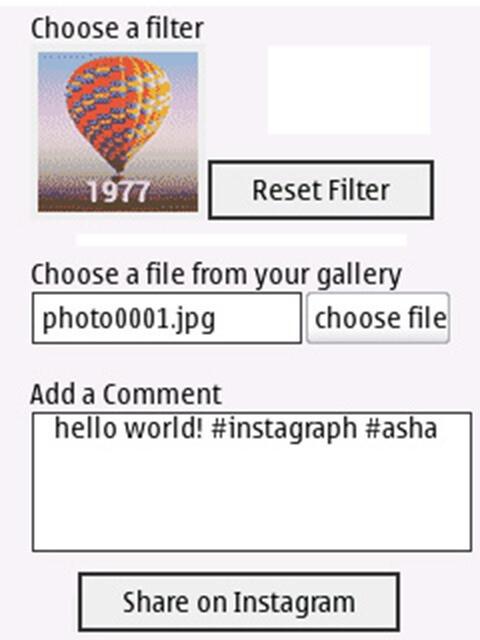 Instagraph Uploader for Asha/S40