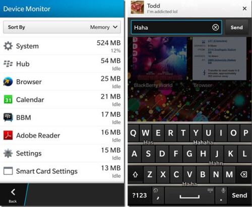 Screenshots from leaked version of BlackBerry 10.2