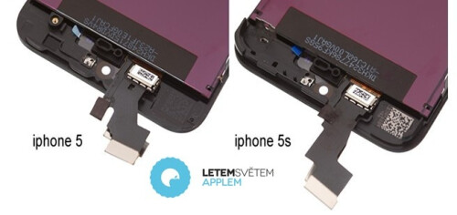 Apple iPhone 5S front panel snapped next to the iPhone 5 one