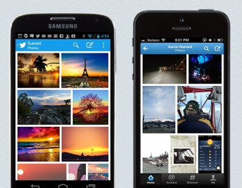 Gallery view in the updated Twitter app for iOS and Android