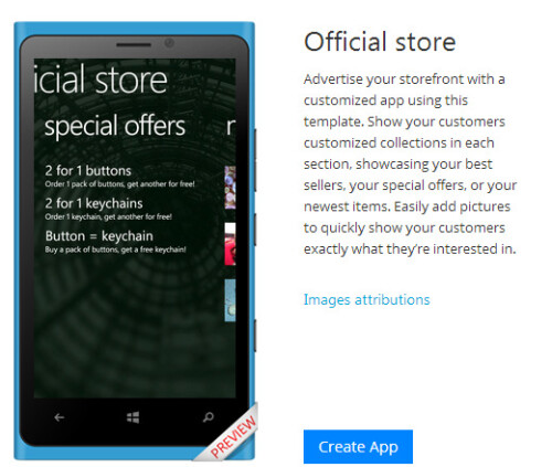 Microsoft App Studio - create Windows Phone apps from templates