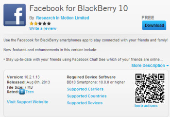 Facebook update for BlackBerry 10 devices running 10.1 or higher