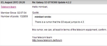 The Samsung Galaxy S III for Deutsche Telekom will go straight to Android 4.3