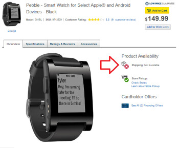 The Pebble smartwatch is sold out at Best Buy's website