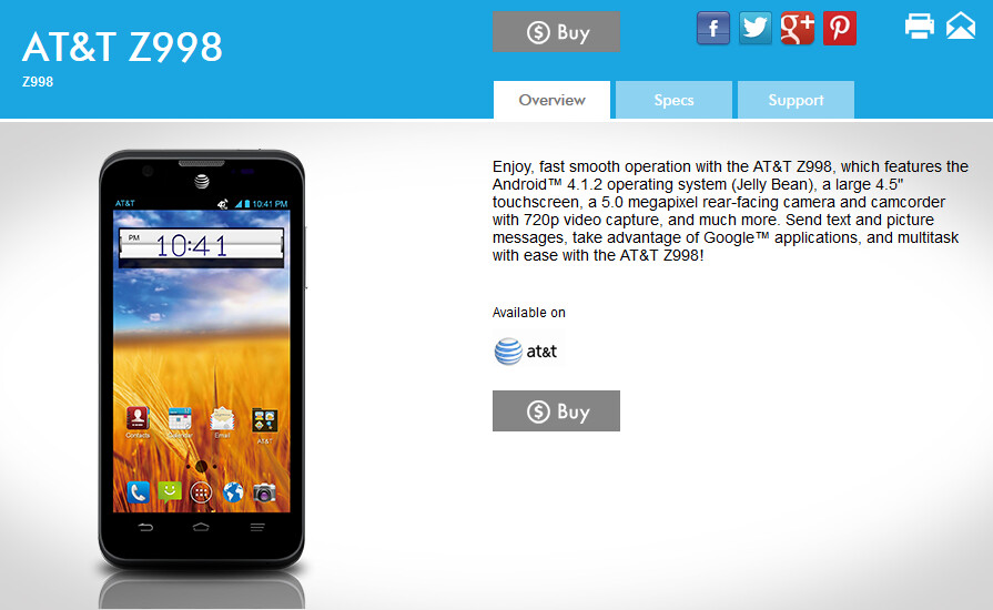 The ZTE Mustang is now listed on the manufacturer's website - AT&T's ZTE Mustang Z998 spotted on manufacturer's website