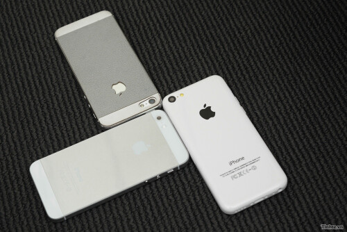 Mockups of the Apple iPhone 5C, Apple iPhone 5S and an Apple iPhone 5