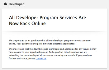 Apple's developer site is now fully functional