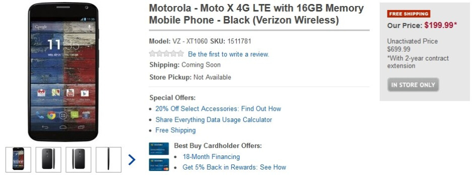 Moto X smartphone appears on the Best Buy site