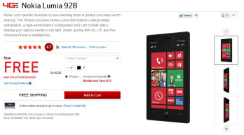Deal alert: Nokia Lumia 928 free on Verizon website with 2-year agreement