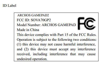 Archos GamePad2 at the FCC
