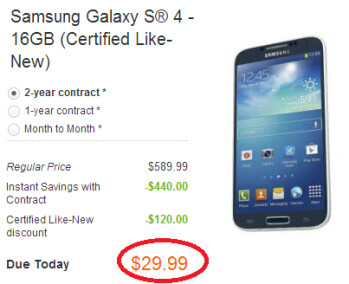 Get a certified like new Samsung Galaxy S4 from AT&T for just $29.99 with a 2-year pact