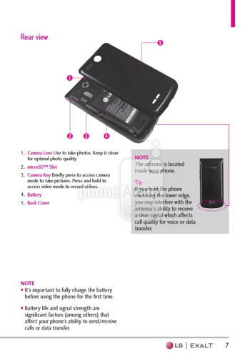 LG Exalt user guide and case design leaks for Verizon