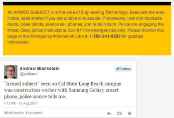 Warning sent to CSU students (T), tweet from LA Times reporter