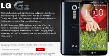 Verizon's signup page for the LG G2 is live