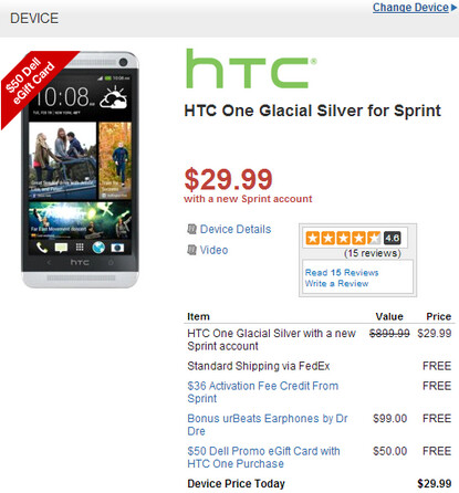 Get the HTC One, urBeats headphones and a $50 Dell gift card for under $30 - Sprint HTC One just $29.99 with Beats headphones and $50 Dell gift card