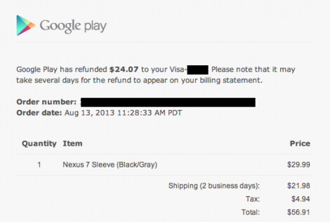 Google is refunding the shipping costs and sales tax for those who purchased the Nexus 7 Sleeve and paid a ridiculously high shipping fee - Google sends out emails to announce that it is refunding shipping costs for the Nexus 7 Sleeve