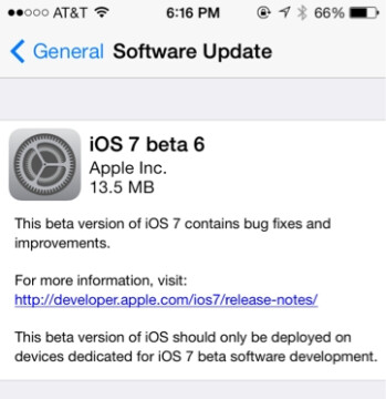 Apple released iOS 7 beta 6on Thursday