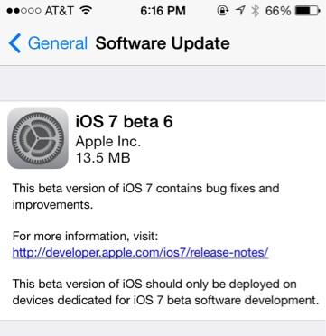 Apple released iOS 7 beta 6on Thursday - Apple iOS 7 beta 6 released to repair iTunes bug