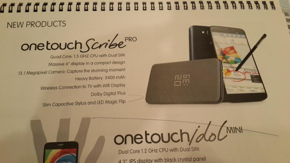 The Alcatel One Touch Scribe Pro - Alcatel One Touch Scribe Pro leaked – 6-inch display, quad-core processor for $300