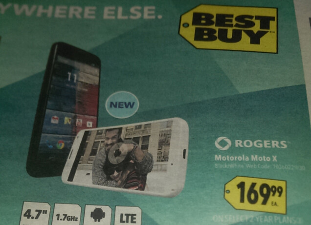 In Canada, Best Buy Mobile is accepting pre-orders on the Motorola Moto X for $169.99 on contract - Best Buy Mobile to sell Rogers' Motorola Moto X for just $169.99 on contract