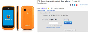 The Firefox OS powered  ZTE Open is up for bids on eBay