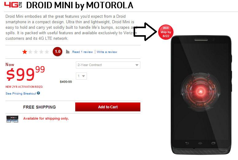 The Motorola DROID Mini will now ship on Thursday - Verizon moves up shipping date of Motorola DROID Mini to Thursday
