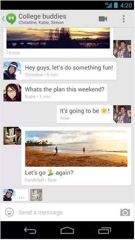 Screenshots from Google Hangouts