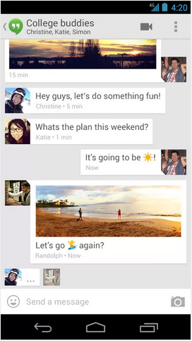 Screenshots from Google Hangouts - Google Hangouts app updated to add more emoji and butter