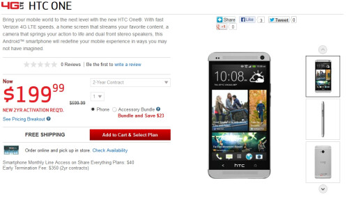 Verizon is now selling the HTC One, LG Enact and LG Exalt