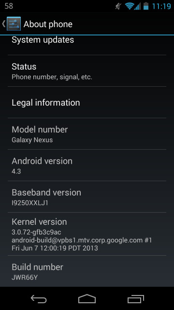Android 4.3 minor update to come OTA