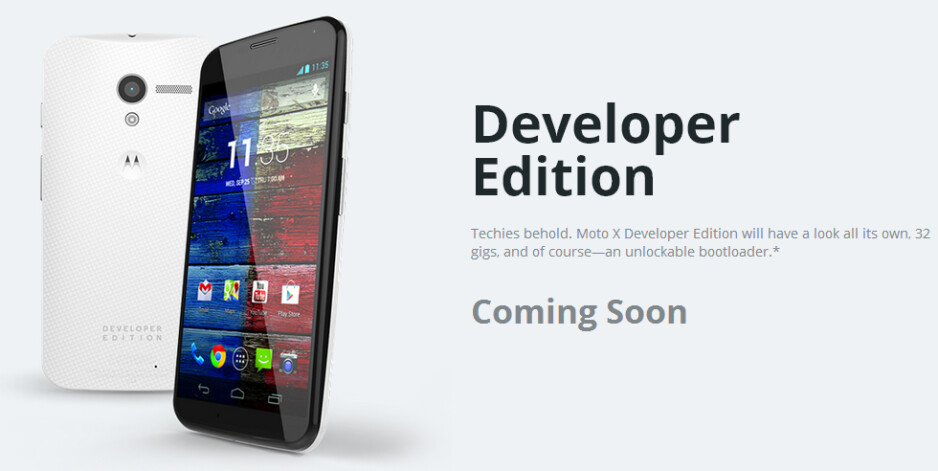 The Motorola Moto X Developer Edition is coming soon - Motorola's own website outs the 32GB Motorola Moto X Developer Edition