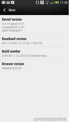 Screenshots from the pre-release ROM containing the Android 4.3 update for the international HTC One