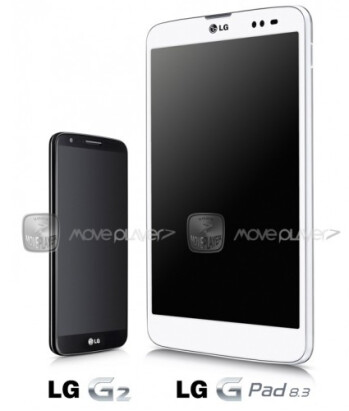 Render of the LG G Pad 8.3 compared to the LG G2