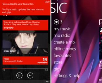 Screenshots from Nokia Music