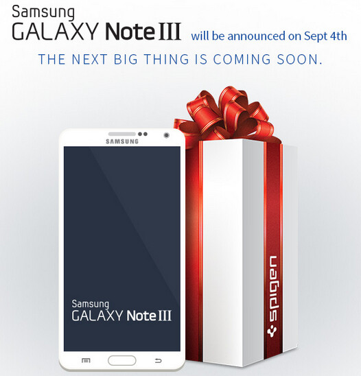 Spigen confirms the September 4th unveiling of the Samsung Galaxy Note III - Spigen website shows Samsung Galaxy Note III render, confirms September 4th unveiling