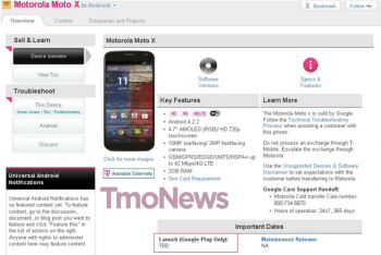 T-Mobile screenshot shows that the carrier's version of the Moto X will launch on the Google Play Store