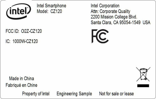 Intel CZ120 smartphone at the FCC