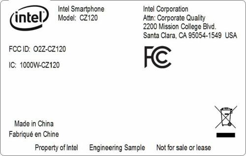 Intel CZ120 smartphone at the FCC