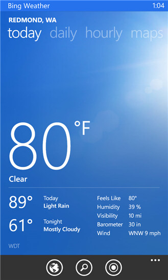 Bing Weather - Windows Phone - Free