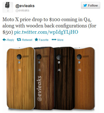 Evleaks tweets about a price cut for the Moto X
