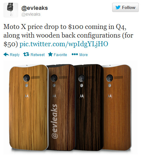 Evleaks tweets about a price cut for the Moto X - Motorola Moto X to drop to $100 in Q4?