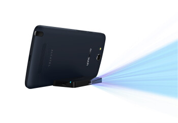 6'' Alcatel One Touch Hero phablet goes full out: pico projector, companion handset, E-Ink/LED covers