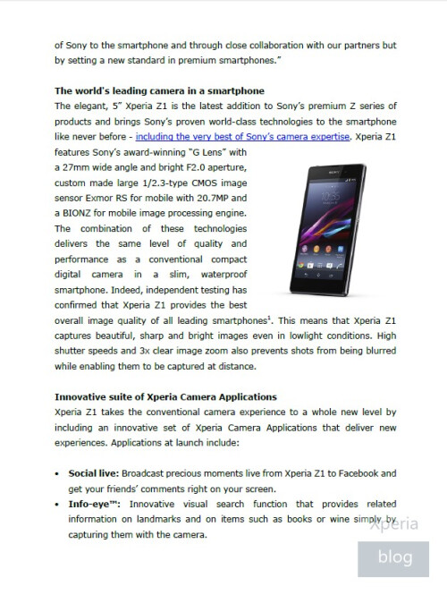 Sony Xperia Z1 press release