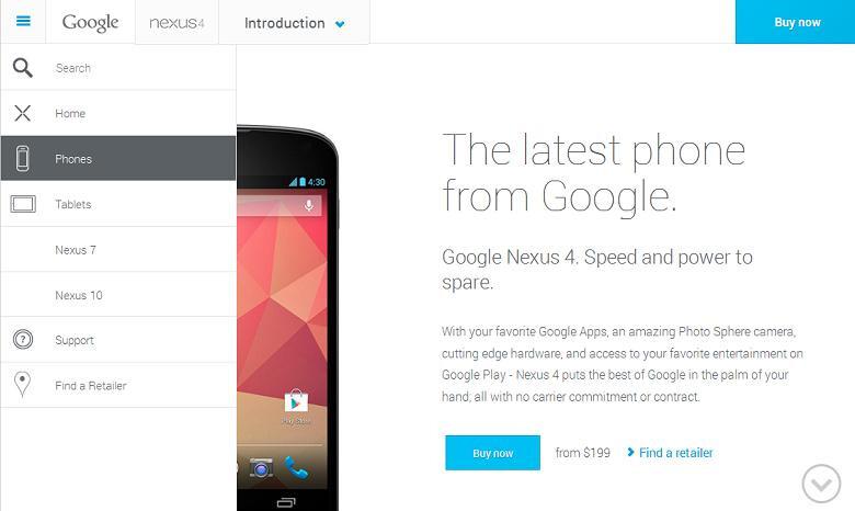 "Google's Nexus site redesign references plural ""phones"""